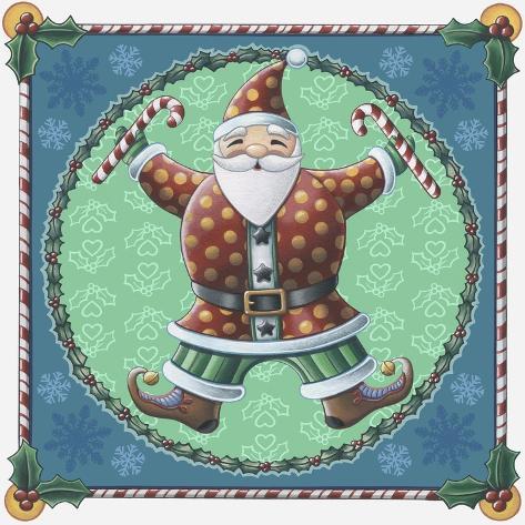 Santa and Snowflakes Reproduction procédé giclée