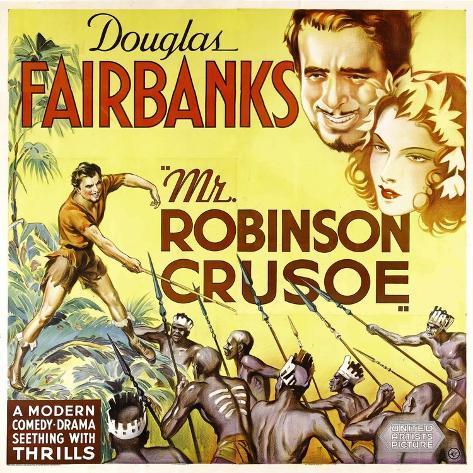 MR. ROBINSON CRUSOE, top right: Douglas Fairbanks, 1932. Reproduction d'art