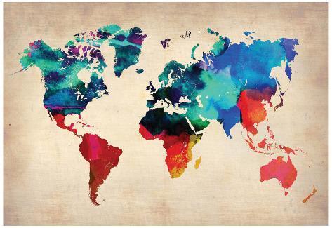 Carte du monde en aquarelle 1 Photographie par NaxArt sur