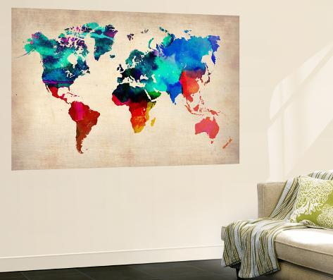 carte du monde en aquarelle 1 poster g ant par naxart sur. Black Bedroom Furniture Sets. Home Design Ideas