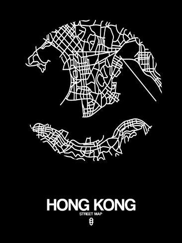 Hong kong street map black posters par naxart sur - Maison familiale design a beijing en china par arch studio ...