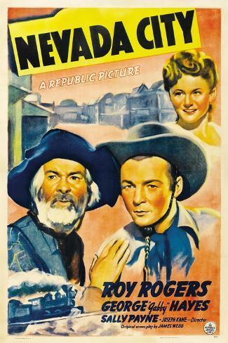 NEVADA CITY, from left: George 'Gabby' Hayes, Roy Rogers, Sally Payne, 1941. Reproduction d'art