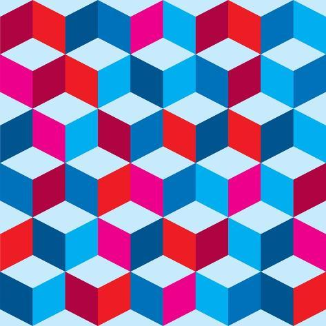 Optical Illusion Background In Red White And Blue With Seamless Pattern Reproduction giclée Premium