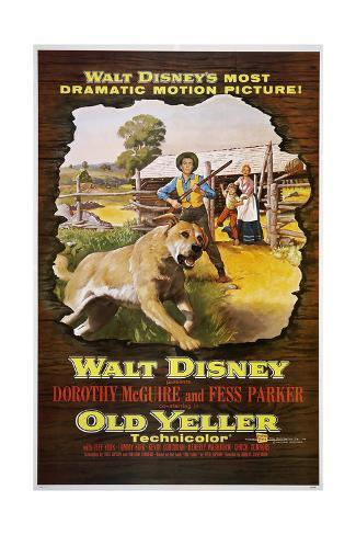 Old Yeller, Old Yeller, Tommy Kirk, Kevin Corcoran, Dorothy McGuire, 1957 Reproduction giclée Premium