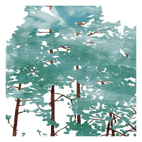 Teal Watered Trees Reproduction d'art