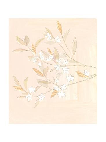 Pale Flowering Branches Against Blush Watercolor Background Reproduction giclée Premium