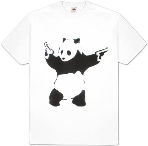 pand monium pochoir noir blanc avec panda et revolvers v tements sur. Black Bedroom Furniture Sets. Home Design Ideas