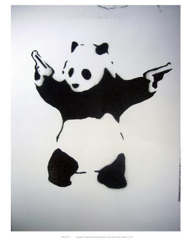 pand monium pochoir noir et blanc avec panda et revolvers affiches sur. Black Bedroom Furniture Sets. Home Design Ideas
