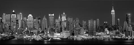 Panorama ouest de New York vu de nuit en noir et blanc, New York, États-Unis Reproduction photographique