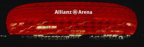 Soccer Stadium Lit Up at Night, Allianz Arena, Munich, Germany Reproduction photographique