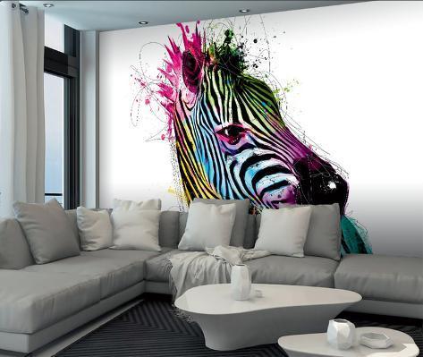 patrice murciano zebra wall mural papier peint par patrice murciano sur. Black Bedroom Furniture Sets. Home Design Ideas