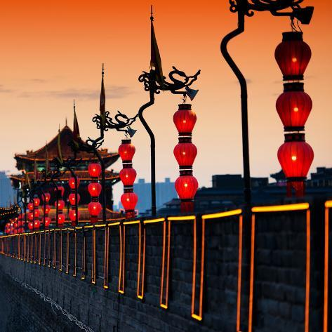 China 10MKm2 Collection - Illumination Night Ramparts - Xi'an City Reproduction photographique