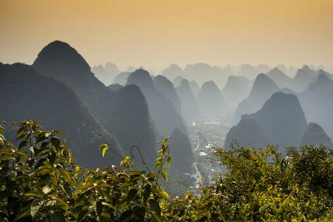 China 10MKm2 Collection - Karst Mountains at sunset - Yangshuo Reproduction photographique