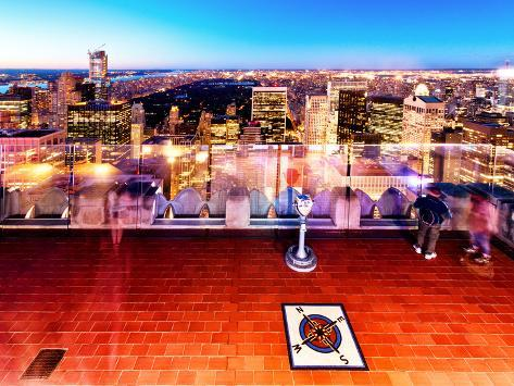 Downtown at Night, Top of the Rock Oberservation Deck, Rockefeller Center, New York City Autre