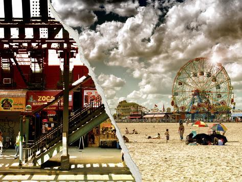 Dual Torn Posters Series - Coney Island NY Reproduction photographique