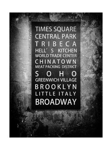 NYC Districts - Urban Style - Black and White Vintage - Manhattan, New York City, USA Reproduction procédé giclée