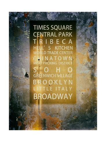NYC Districts - Wall Sign - Urban Style - Manhattan, New York City, USA Reproduction procédé giclée