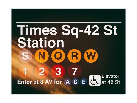 Subway Times Square - 42 Street Station - Subway Sign - Manhattan, New York City, USA Reproduction procédé giclée