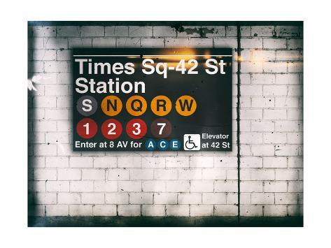Subway Times Square - 42 Street Station - Subway Sign - Manhattan, New York City, USA Reproduction procédé giclée