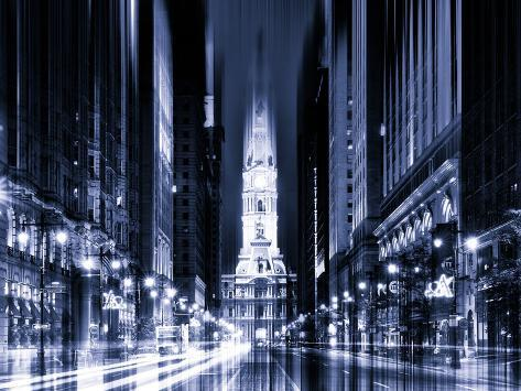 Urban Stretch Series - City Hall and Avenue of the Arts by Night - Philadelphia - Pennsylvania Reproduction photographique