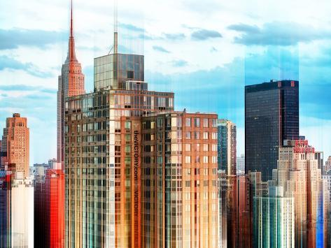 Urban Stretch Series - Cityscape of Manhattan with the Empire State Building - New York Reproduction photographique