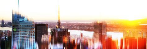 Urban Stretch Series, Fine Art, Skyline, Panoramic Sunset, Manhattan, New York City, United States Autre
