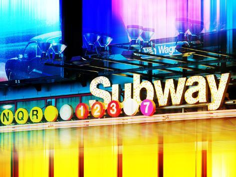 Urban Stretch Series, Fine Art, Subway, Colors, Times Square, Manhattan, New York City, US Reproduction photographique