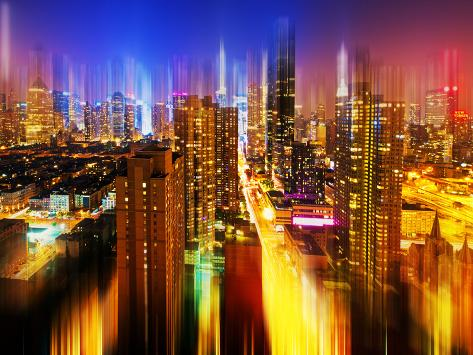 Urban Stretch Series, Fine Art, Times Square, Manhattan by Night, New York, United States Autre
