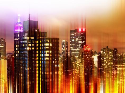 Urban Stretch Series - Landscape of Manhattan at Night - New York Reproduction photographique