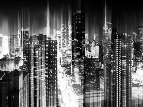 Urban Stretch Series - Manhattan and Times Square at Night - 42nd Street - New York Reproduction photographique