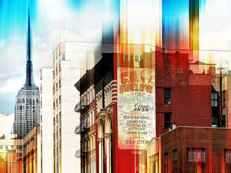 Urban Stretch Series - Manhattan Architecture with the Empire State Building - New York Reproduction photographique