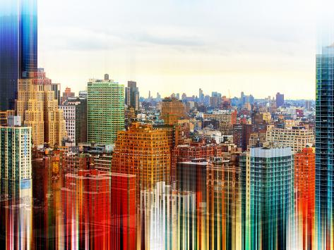 Urban Stretch Series - Skyline of Manhattan at Sunset - New York Reproduction photographique
