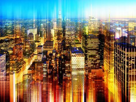 Urban Stretch Series - Skyline of Manhattan by Night - New York Reproduction photographique