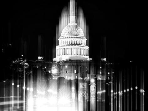 Urban Stretch Series - The Capitol Building by Night - US Congress - Washington DC Reproduction photographique