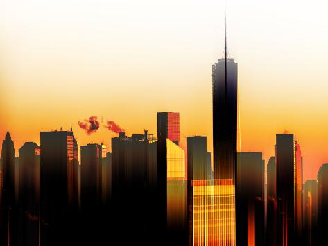 Urban Stretch Series - The One World Trade Center at Sunset - Manhattan - New York Reproduction photographique