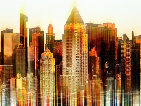 Urban Stretch Series - Times Square Buildings at Sunset in Winter - Manhattan - New York Reproduction photographique