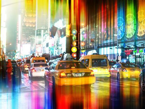 Urban Stretch Series - Yellow Taxi of Times Square by Night - Manhattan - New York Reproduction photographique