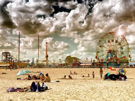 Vintage Beach, Wonder Wheel, Coney Island, Brooklyn, New York, United States Reproduction photographique
