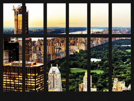 Window View - Central Park at Sunset - Manhattan - New York City Reproduction photographique