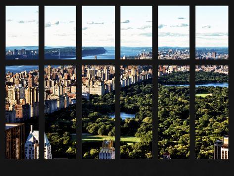 Window View - Central Park - Manhattan - Hudson River - New York City Reproduction photographique