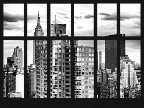 Window View - Cityscape with the Empire State Building - Manhattan - New York City Reproduction photographique