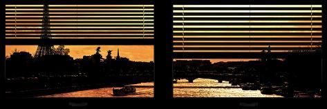 Window View - Color Sunset in Paris with the Eiffel Tower and the Seine River - France - Europe Reproduction photographique