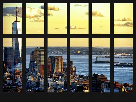 Window View - Landscape View with the Empire State Building at Sunset - Manhattan - New York City Reproduction photographique