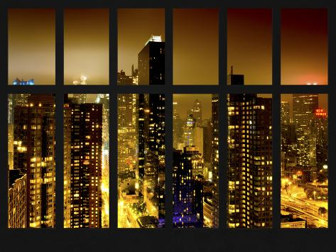 Window View - Manhattan with View of Times Square and 42nd Street by Foggy Night - Manhattan - NYC Reproduction photographique
