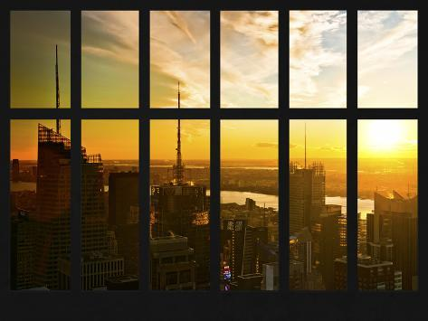 Window View - NY Skyline with Skyscrapers at Sunset - Manhattan - New York City Reproduction photographique