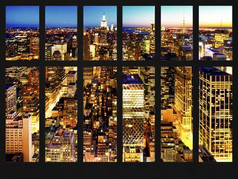 Window View - Skyline of Manhattan by Night - Midtown Manhattan - Times Square - New York City Reproduction photographique