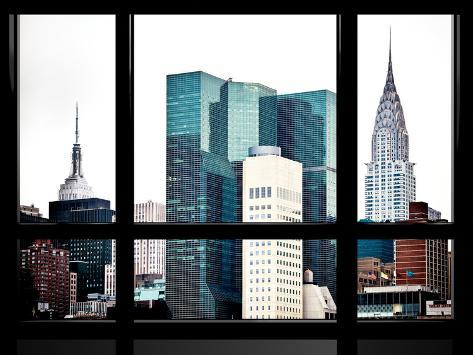 Window View, Special Series, Empire State Building and Chrysler Building Tops, Manhattan, New York Reproduction photographique