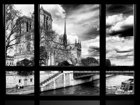 Window View, Special Series, Notre Dame Cathedral, Seine River, Paris, Black and White Photography Reproduction photographique