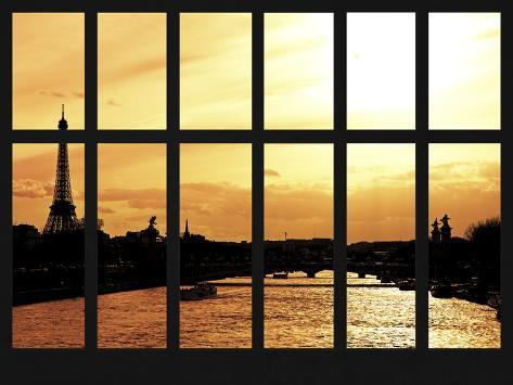 Window View - the River Seine of the Eiffel Tower and Alexandre III Bridge - Paris - France Reproduction photographique