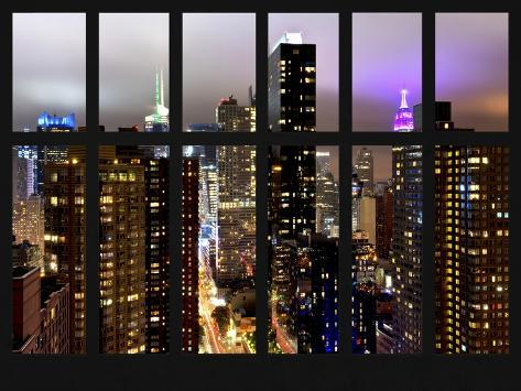 Window View - Times Square and 42nd Street by Foggy Night - Empire State Building - Manhattan - NY Reproduction photographique
